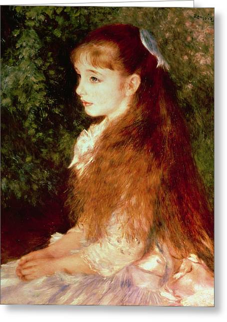 Red Hair Greeting Cards -  Portrait of Mademoiselle Irene Cahen dAnvers Greeting Card by Pierre Auguste Renoir
