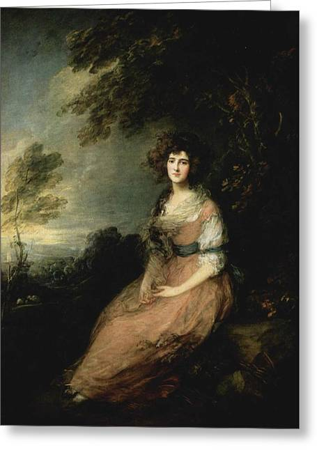 Portrait Of Mrs Greeting Card by Thomas Gainsborough