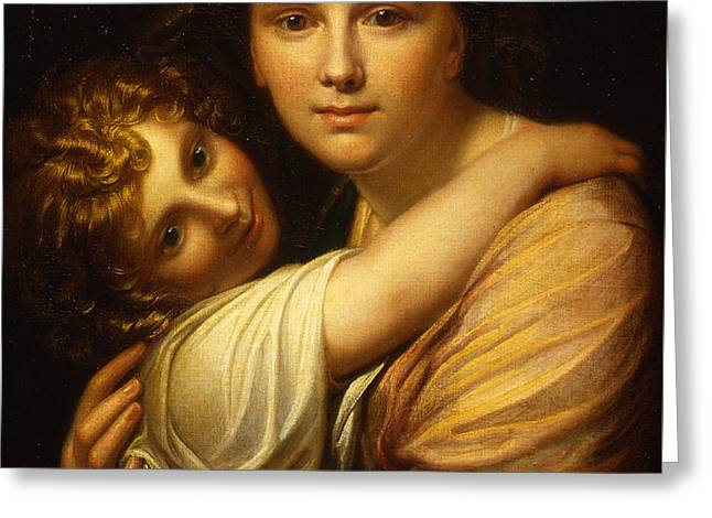 Portrait Of The Artists Wife And Daughter  Greeting Card by Richard Cosway
