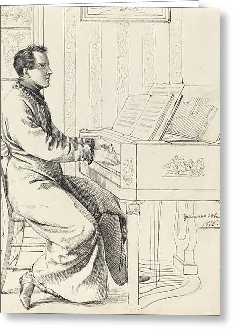 Seated Man Drawings Greeting Cards -  Preparing to Play the Piano Greeting Card by Ludwig Emil Grimm
