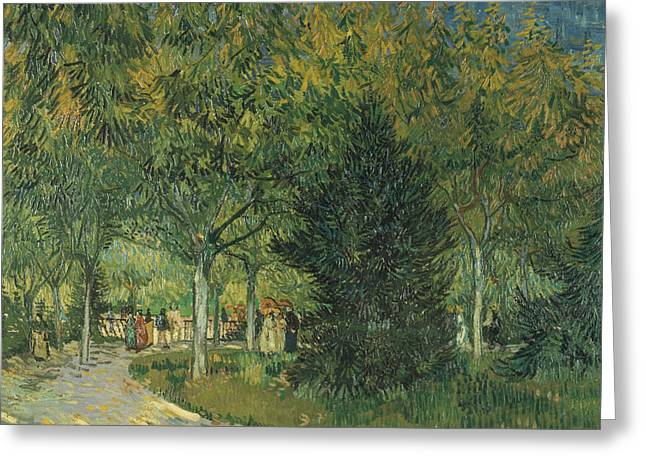 Arles Paintings Greeting Cards -  Promenaders Greeting Card by Vincent van Gogh
