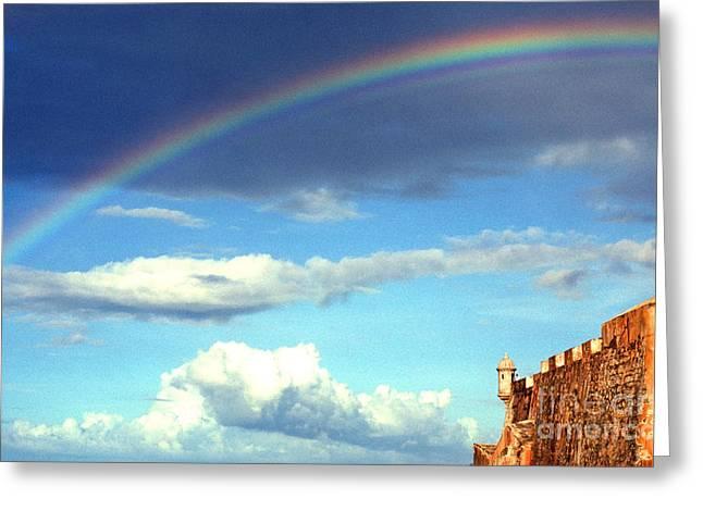 El Morro Greeting Cards -  Rainbow over El Morro Fortress Greeting Card by Thomas R Fletcher
