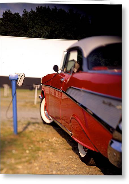 Red Street Rod Greeting Cards -  Red Chevy at the Drive-In Greeting Card by Robert Ponzoni