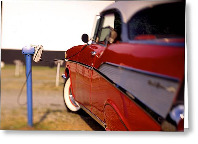 Red Chevy at the Drive-In Greeting Card by Robert Ponzoni