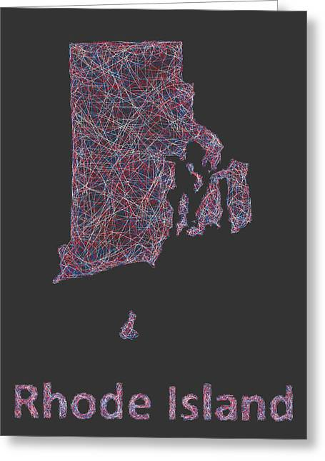 Rhode Island State Map Greeting Cards -  Rhode Island map Greeting Card by David Zydd