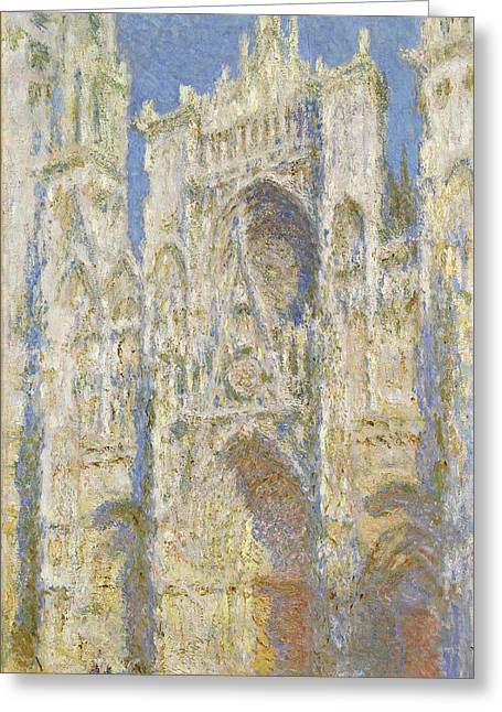 Haze Greeting Cards -  Rouen Cathedral West Facade Sunlight Greeting Card by Claude Monet