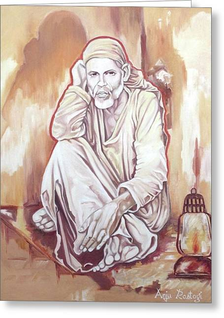 Baba Paintings Greeting Cards -  Sai Baba Painting Greeting Card by Anju Rastogi