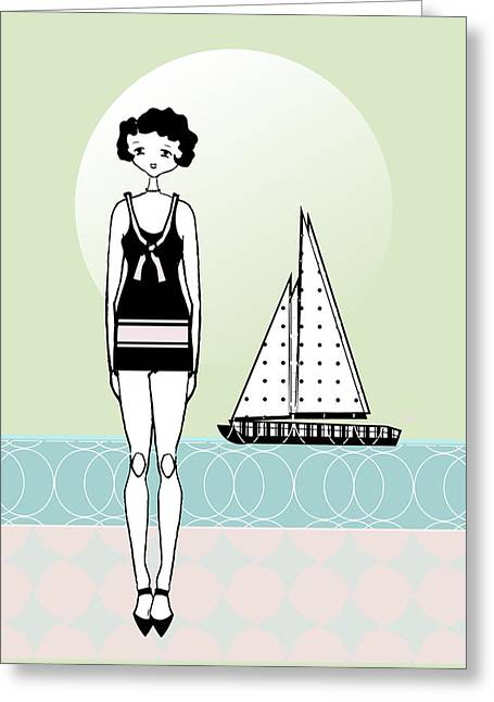 Ocean Art. Beach Decor Greeting Cards -  Sailboat Day 1920s Gatsby Flapper Girl Greeting Card by Cecely Bloom