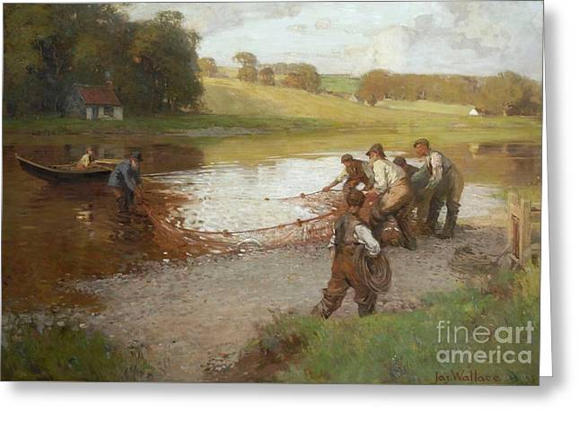 Salmon Fishing On The Tweed  Greeting Card by James Wallace