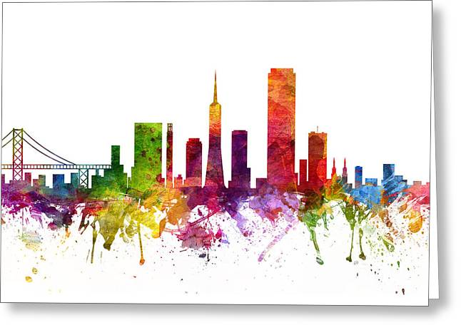 San Francisco Drawings Greeting Cards -  San Francisco Cityscape 06 Greeting Card by Aged Pixel