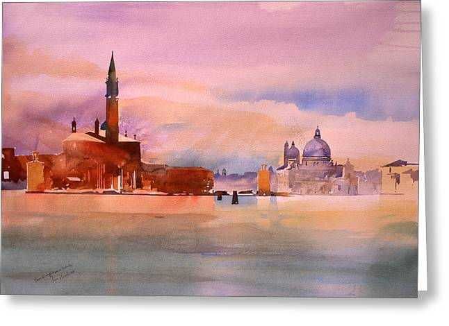 Venetian Canals Greeting Cards -  San Giorgio and Salute Greeting Card by Simon Fletcher