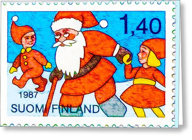 1987 Paintings Greeting Cards -  Santa Claus and Youths Greeting Card by Lanjee Chee