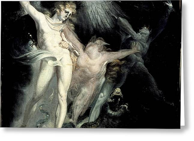 Henry Fuseli Greeting Cards -  Satan and Death with Sin Intervening Greeting Card by Celestial Images