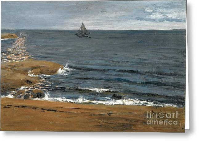 Seascape The Light Of The Moon Greeting Card by Hugo Simberg