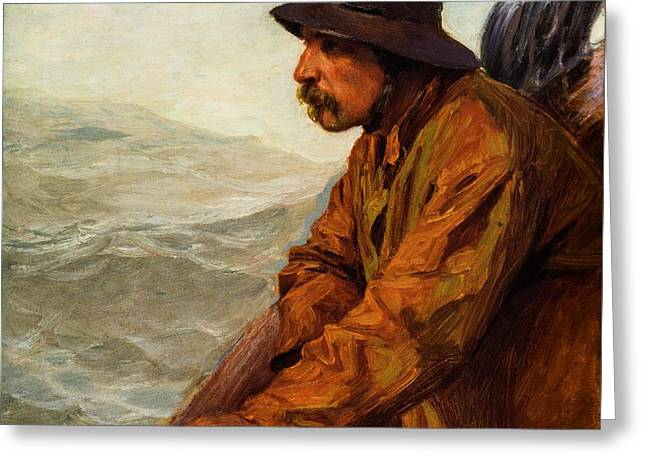 Schooner Greeting Cards -  Seascape with Figure  Greeting Card by  Edward Henry Potthast