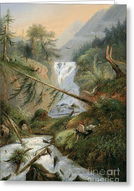 Sunset Seascape Drawings Greeting Cards -  Shepherd Resting by the Waterfall Greeting Card by Alexandre Calame