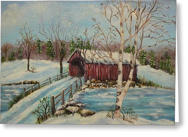 Covered Bridges Greeting Cards -  Snow Covered Bridge Greeting Card by Irene McDunn