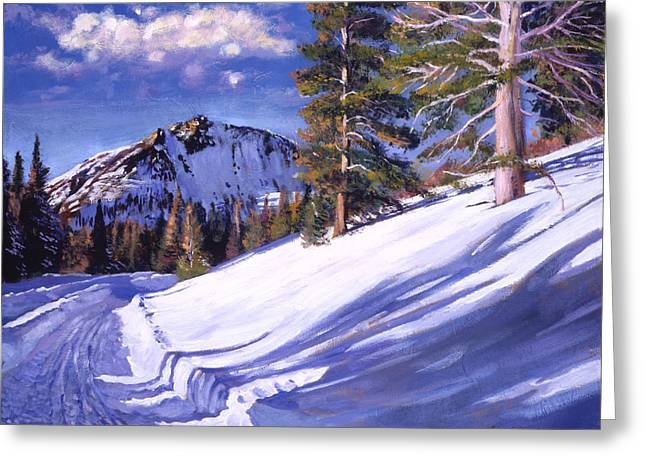 Snowy Mountain Road Greeting Card by David Lloyd Glover