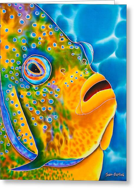 Print Tapestries - Textiles Greeting Cards -  Spotted Angelfish Greeting Card by Daniel Jean-Baptiste