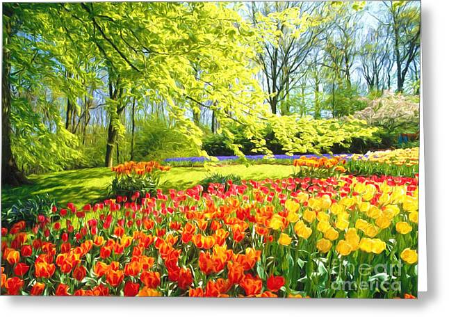 Harmonious Paintings Greeting Cards -  Spring Garden Greeting Card by Veikko Suikkanen
