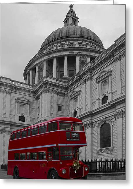 St Pauls Cathedral Red Bus Greeting Card by David French