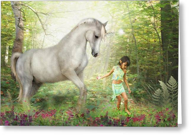 Elvin Greeting Cards -  Stella and the Unicorn Greeting Card by Trudi Simmonds