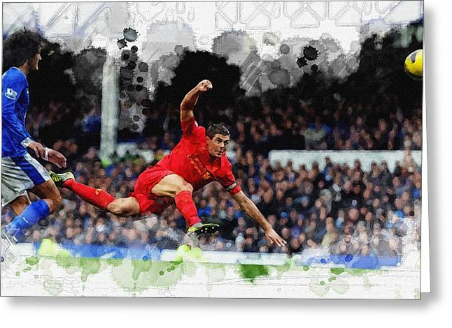 Football Collectibles Greeting Cards -  Steven Gerrard of Liverpool Greeting Card by Don Kuing