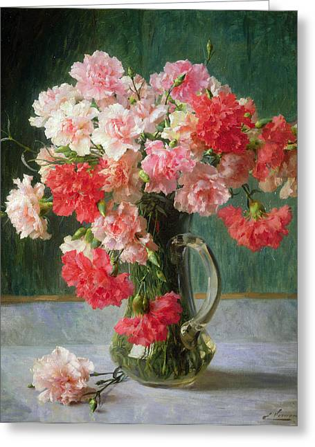Water Jug Greeting Cards -  Still life of Carnations   Greeting Card by Emile Vernon