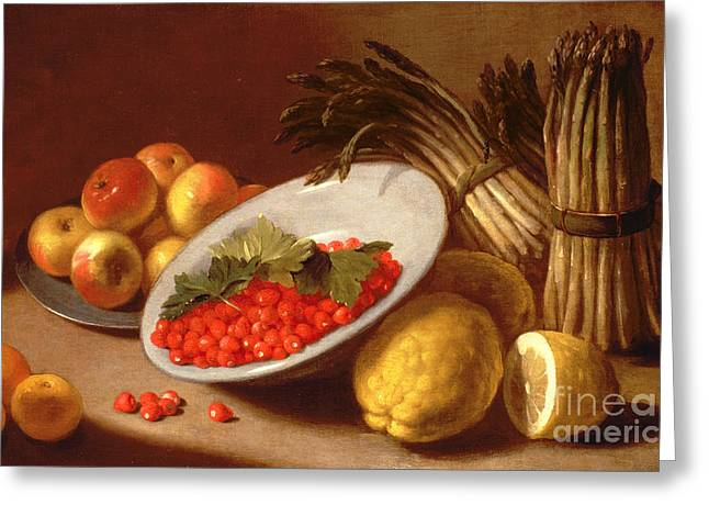 Apple Paintings Greeting Cards -  Still Life of Raspberries Lemons and Asparagus  Greeting Card by Italian School