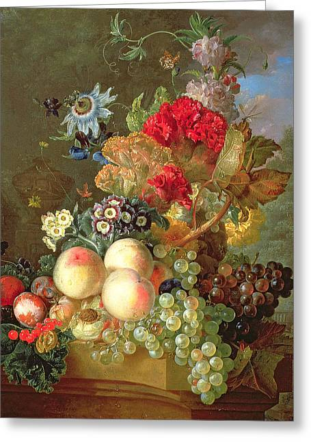 Apple Paintings Greeting Cards -  Still Life with Auriculus  Greeting Card by Gerrit Van Leeuwen