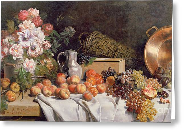 Apple Paintings Greeting Cards -  Still life with flowers and fruit on a table Greeting Card by Alfred Petit