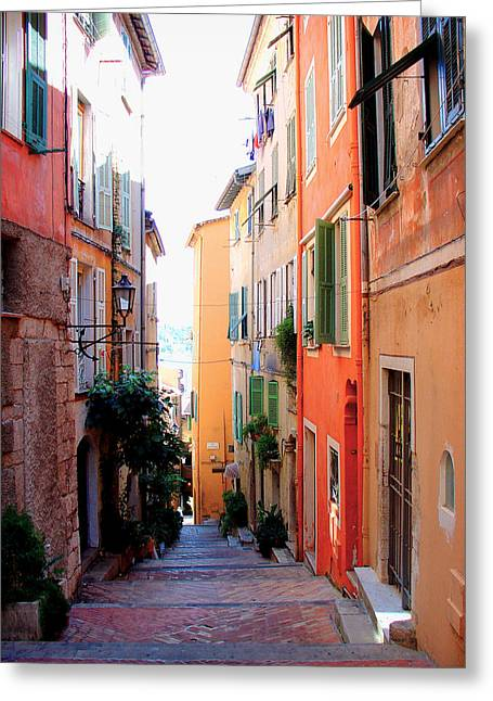 Villefranche Greeting Cards -  Streets of Villefranche  Greeting Card by Julie Palencia