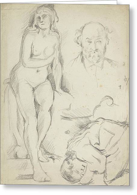 Studies Of Three Figures Including A Self-portrait  Greeting Card by Paul Cezanne