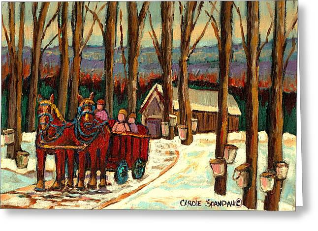 Montreal Winter Scenes Paintings Greeting Cards -  Sugar Shack Greeting Card by Carole Spandau