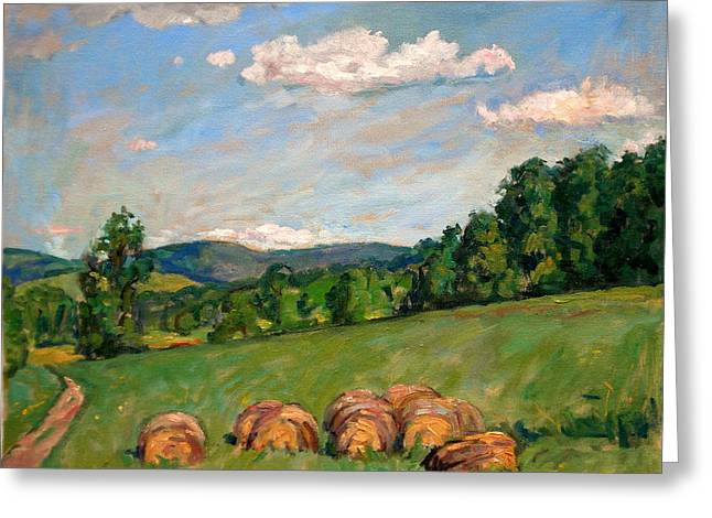 Abstract Realist Landscape Greeting Cards -  Summer Idyll Berkshires Greeting Card by Thor Wickstrom
