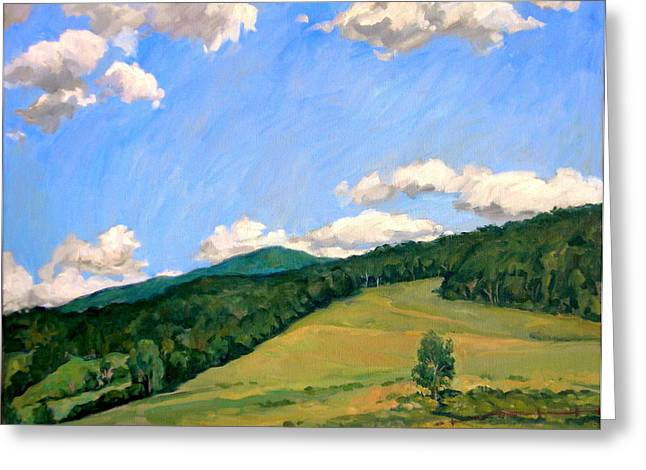 Abstract Realist Landscape Greeting Cards -  Summer Shapes Berkshires Greeting Card by Thor Wickstrom