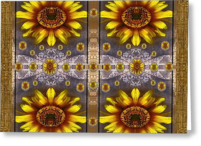 Harmonize Greeting Cards -  Sunflower Fields On Lace Forever Pop Art Greeting Card by Pepita Selles