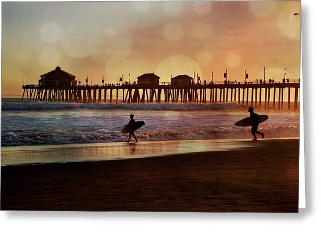 Surf City Greeting Cards - Huntington Beach Sunset Surfers Greeting Card by Debra Souter