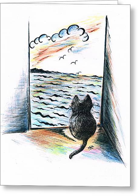 Swooping Drawings Greeting Cards -  Sweet Cats View Greeting Card by Teresa White