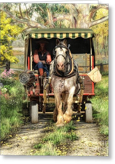 Horse And Cart Greeting Cards -  Take Me Home Country Road Greeting Card by Trudi Simmonds