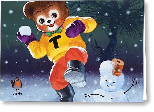 Teddy Bear Throwing Snowballs Greeting Card by William Francis Phillipps