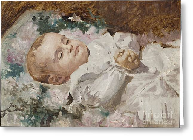 1907 Greeting Cards -  The Alabaster Josep Maria Brusi on his deathbed Greeting Card by Antonio Caba