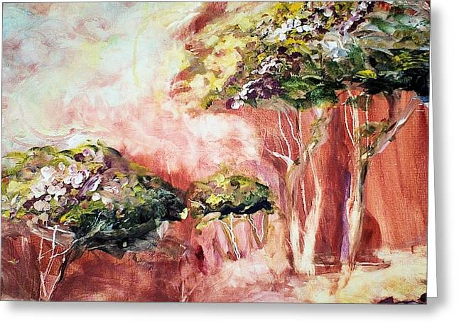 Mystical Landscape Mixed Media Greeting Cards -  The Autumn Dream Greeting Card by Kim Layton