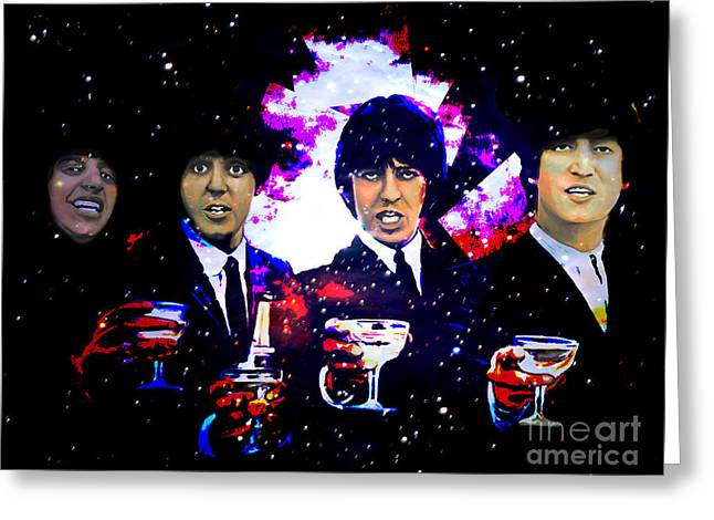Champagne Glasses Greeting Cards -  The Beatles Greeting Card by Andrzej Szczerski