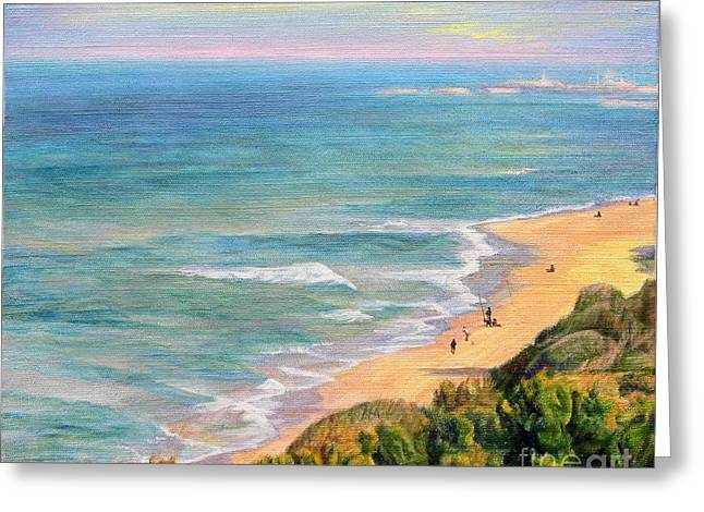 People Paintings Greeting Cards -     The breath of the sea... Greeting Card by Maya Bukhina
