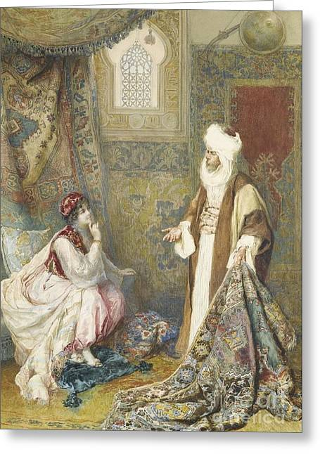 1874 Greeting Cards -  The Carpet Seller Greeting Card by Amedeo Simonetti