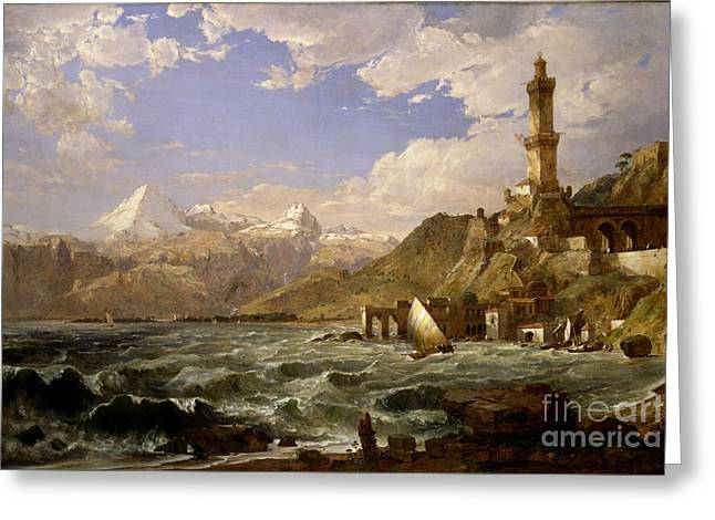 Genoa Paintings Greeting Cards -  The Coast of Genoa Greeting Card by Celestial Images