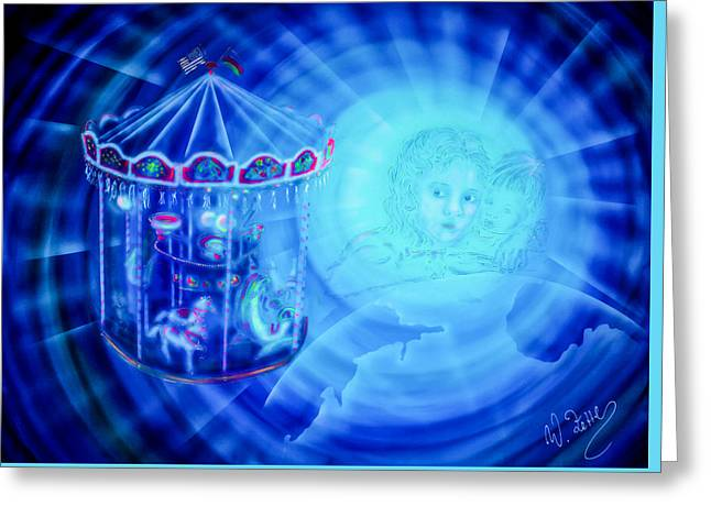 Fantasy World Greeting Cards -  The Cosmic Carousel Of Life  Greeting Card by Walter Zettl