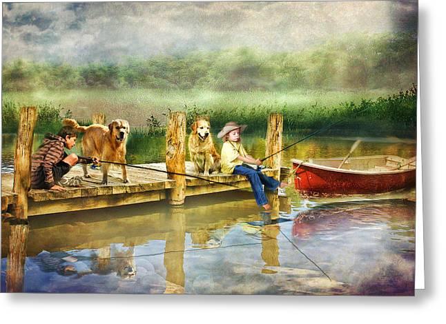 The Fishing Spot Greeting Card by Trudi Simmonds
