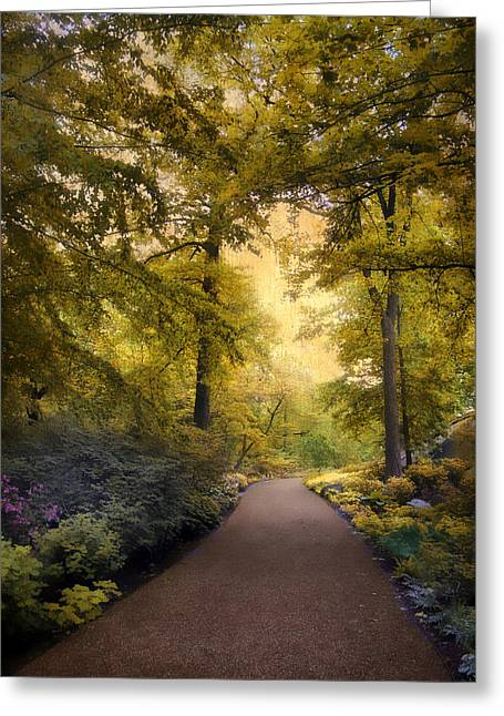 Walkway Digital Greeting Cards -  The Golden Walkway Greeting Card by Jessica Jenney
